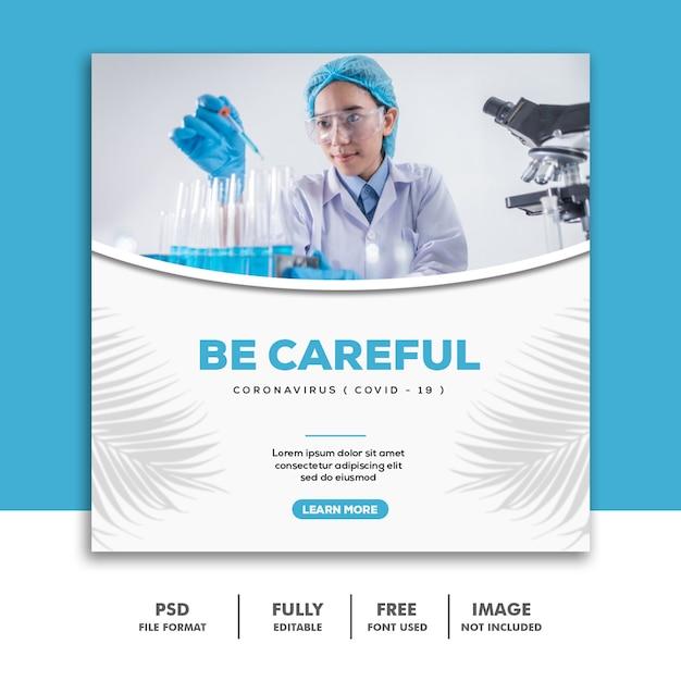 Social media post-sjabloon instagram wees voorzichtig tegen coronavirus doctor Premium Psd