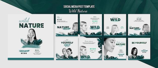 Social media post-sjabloon met wilde natuur concept Gratis Psd