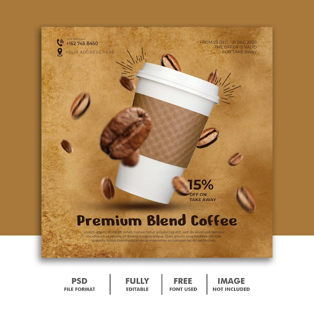 Social media post-sjabloon voor restaurantvoedselmenu premium koffie Premium Psd