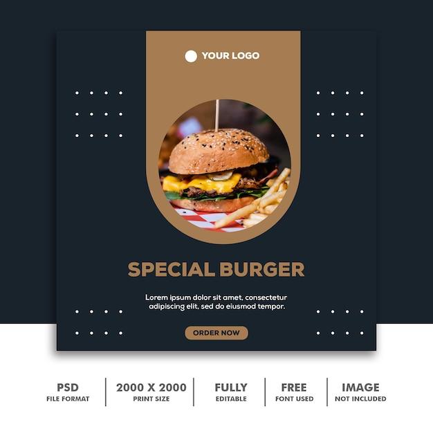 Social media post template square banner voor instagram, restaurant eten schoon elegant modern gouden hamburger Premium Psd