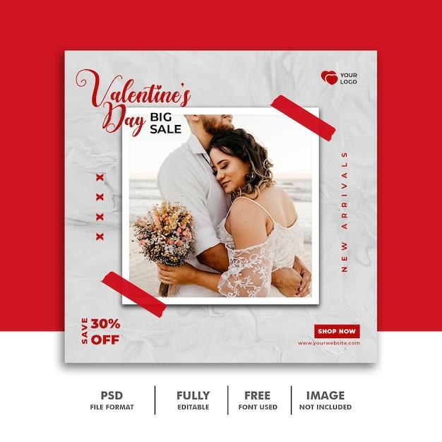 Social media post valentine-sjabloon voor spandoek voor koppels Premium Psd