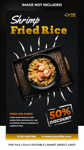 Social media post voor voedselkortingssjabloon Premium Psd