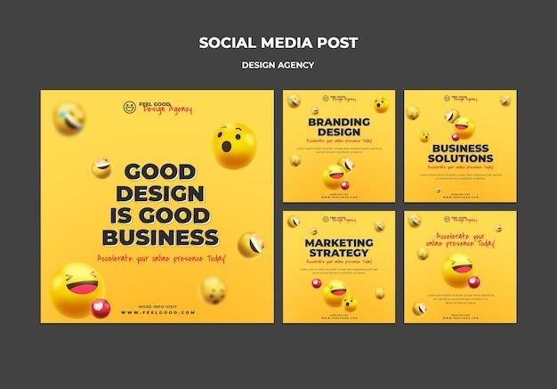 Social media posts van ontwerpbureau Gratis Psd