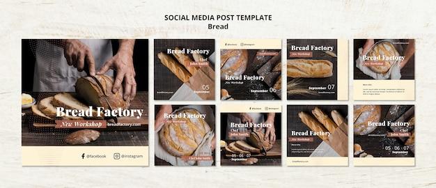 Social media postsjabloon met brood Gratis Psd