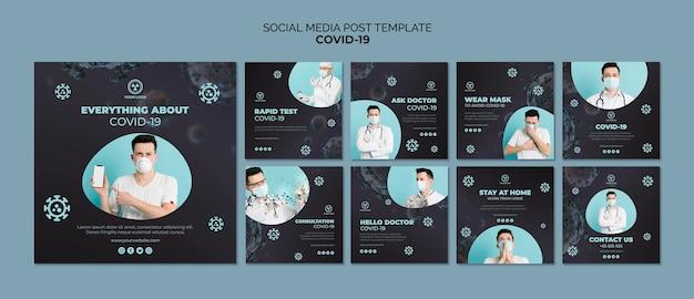 Social media postsjabloon met covid 19 Gratis Psd