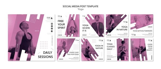 Social media postsjabloon met yoga Gratis Psd