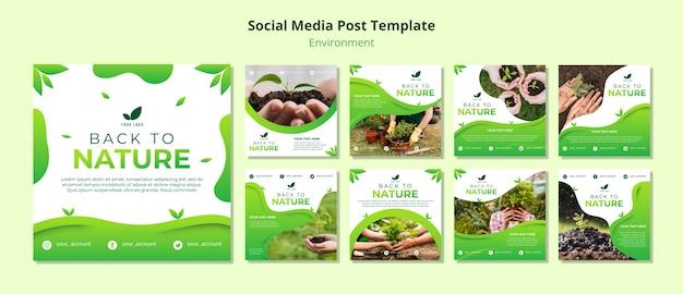 Social media postsjabloon over de natuur Gratis Psd