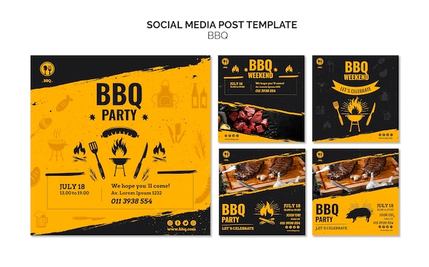 Social media postsjabloon voor barbecuefeest Gratis Psd