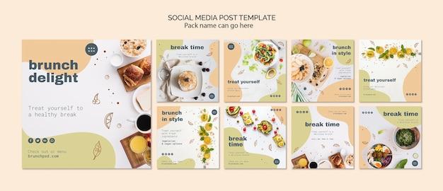 Social media postsjabloon voor brunch Gratis Psd
