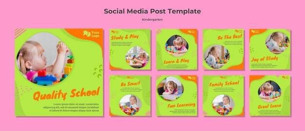 Social media postsjabloon voor de kleuterschool Premium Psd