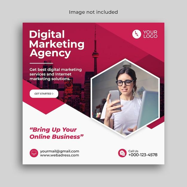 Social media postsjabloon voor digitale marketing instagram Premium Psd