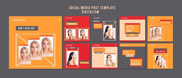 Social media postsjabloon voor digitalisme Gratis Psd