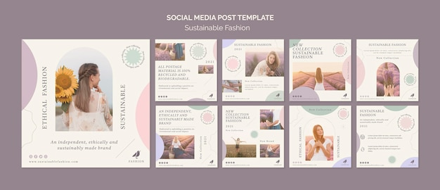 Social media postsjabloon voor duurzame mode Premium Psd