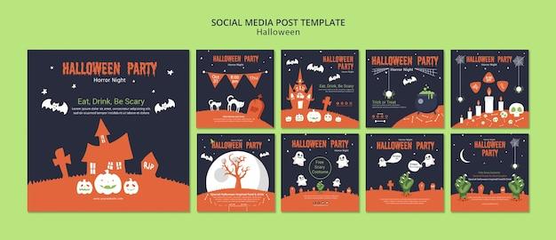 Social media postsjabloon voor halloween Gratis Psd