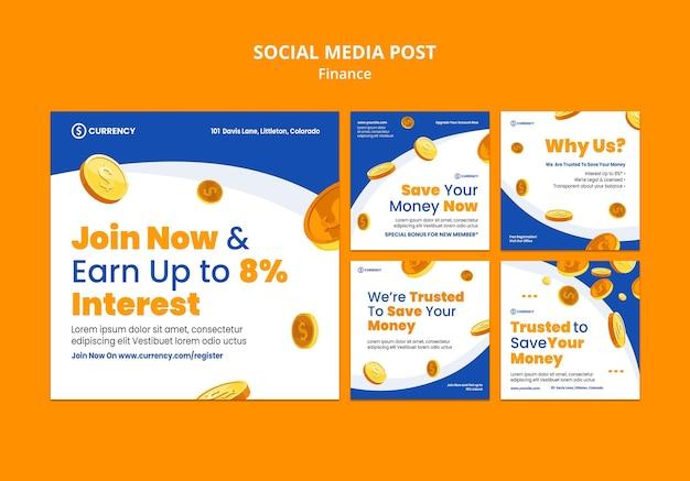 Social media postsjabloon voor online bankieren Gratis Psd
