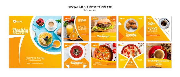 Social media postsjabloon voor restaurants Premium Psd