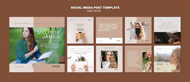 Social media postsjabloon voor schrijvers Gratis Psd