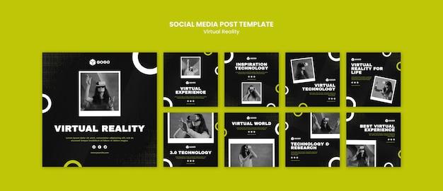 Social media postsjabloon voor virtuele realiteit Premium Psd