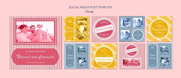 Social media publiciteit voor snoepwinkel Gratis Psd