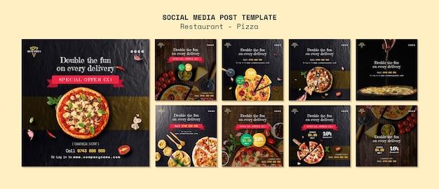 Social media sjabloon voor pizzarestaurant Gratis Psd