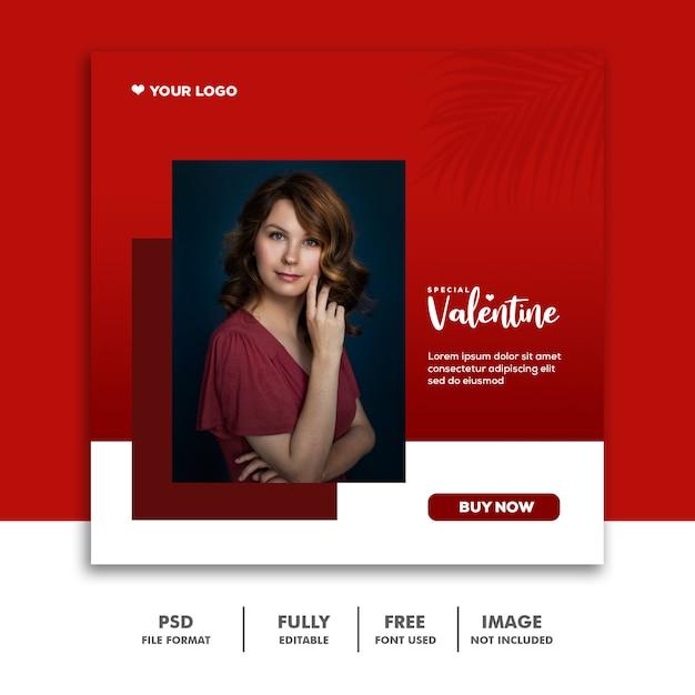 Social media valentine template instagram, moda Psd Premium