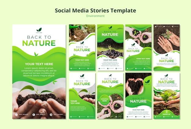 Social media verhalen sjabloon van de natuur Gratis Psd