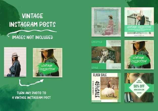 Social media vintage instagram-berichtenbundel Premium Psd