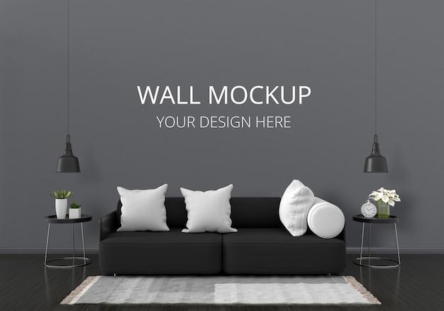Sofá negro en sala de estar con maqueta de pared PSD gratuito
