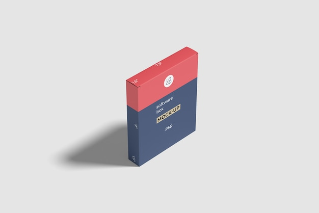 Software box mockup hoge hoekweergave Premium Psd