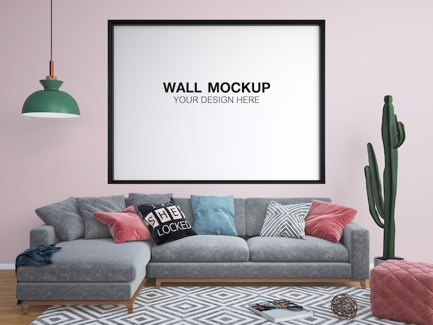 Soggiorno in rosa pastello con divano, tavolo, lampada e cornice mock up Psd Premium