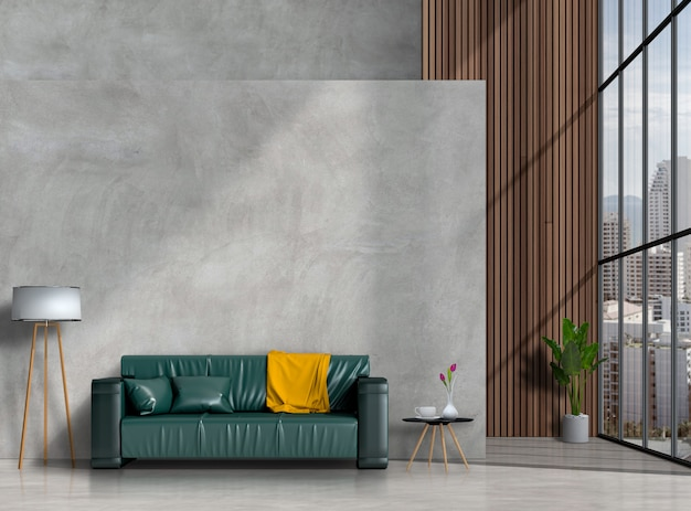 Soggiorno moderno interno con divano, pianta, lampada Psd Premium