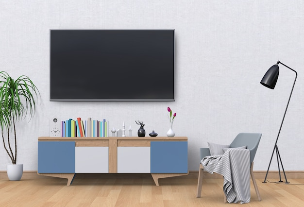 Soggiorno moderno interno con smart tv, mobile e poltrona. Psd Premium