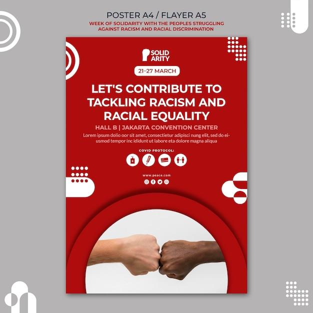 Solidariteit voor mensen die worstelen met racisme-flyer Gratis Psd