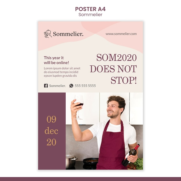 Sommelier advertentie poster sjabloon Gratis Psd