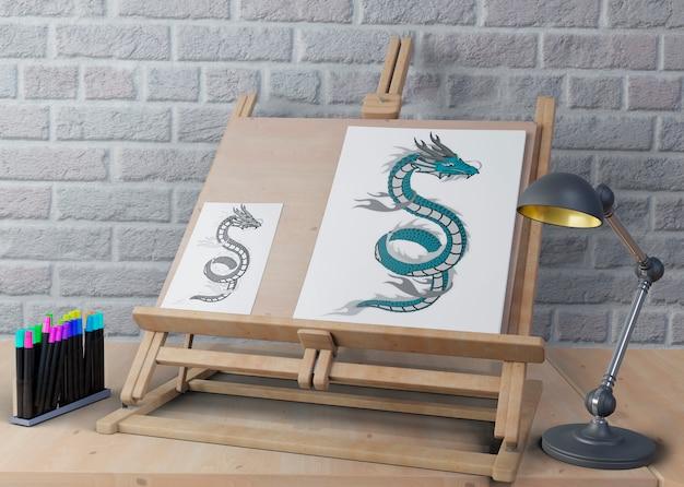 Soporte para pintar con dibujos PSD gratuito