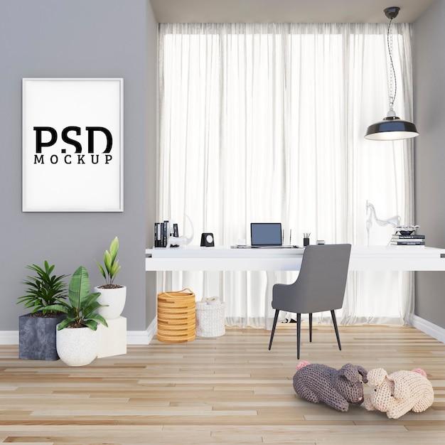 Spazio di studio con grandi cornici per porte e cornice Psd Premium