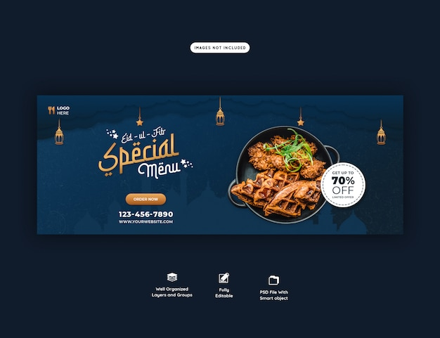 Speciaal eid ul fitr voedselmenu facebook omslagbanner psd Premium Psd