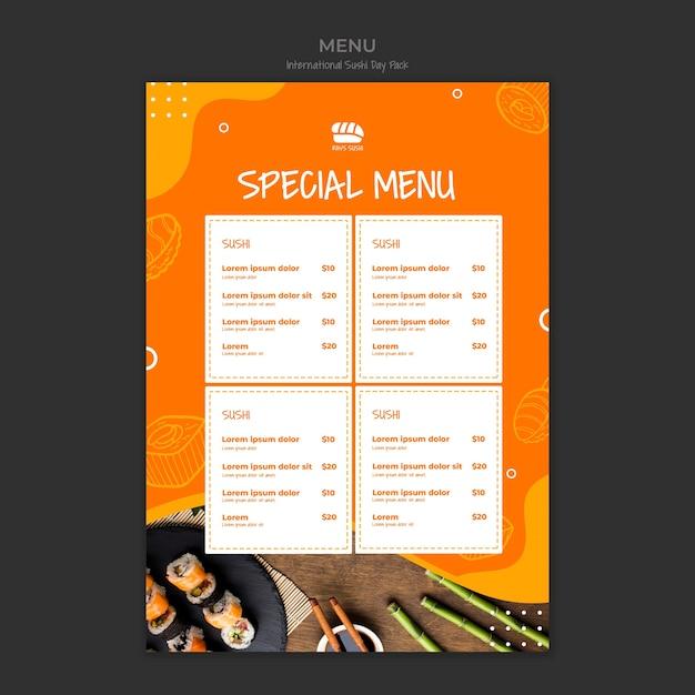 Speciaal menu voor sushi restaurant Gratis Psd