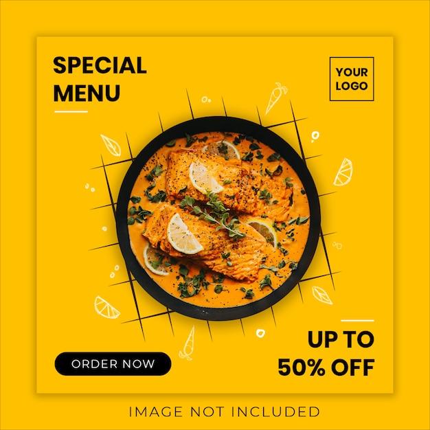 Speciaal voedsel menu sociale media sjabloon voor spandoek Premium Psd