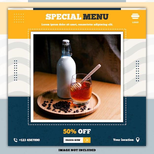 Speciaal voedselmenu sociale media plaatsen bannermalplaatjes Premium Psd