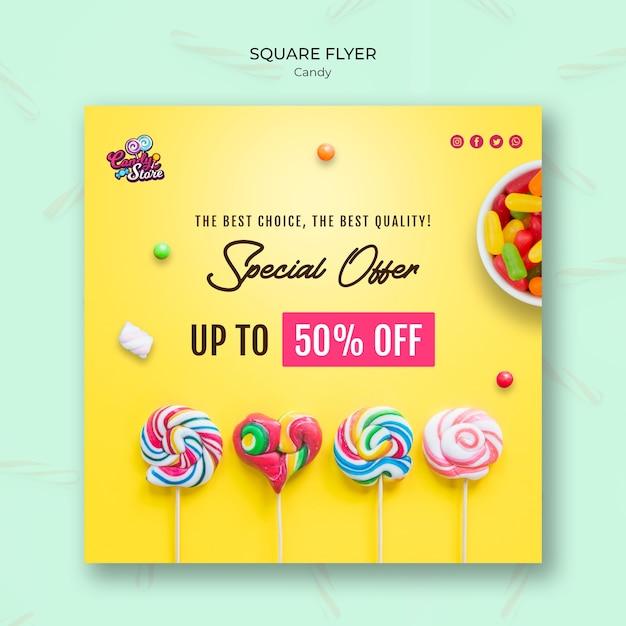 Speciale aanbieding snoepwinkel vierkante flyer-sjabloon Gratis Psd