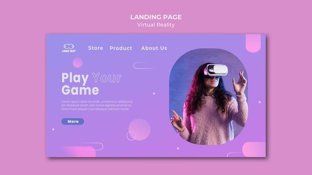 Speel het spel met de bestemmingspagina van virtual reality Premium Psd