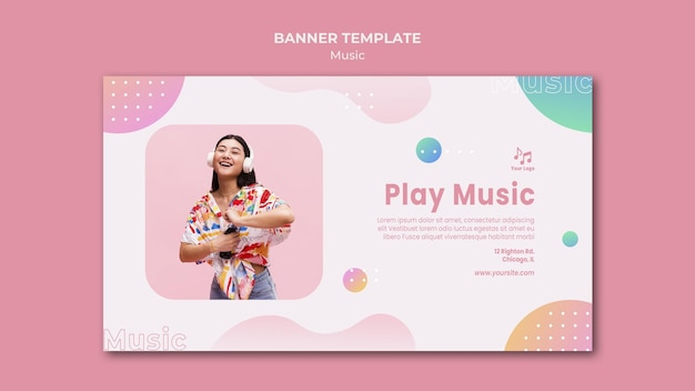 Speel muziek banner websjabloon Gratis Psd