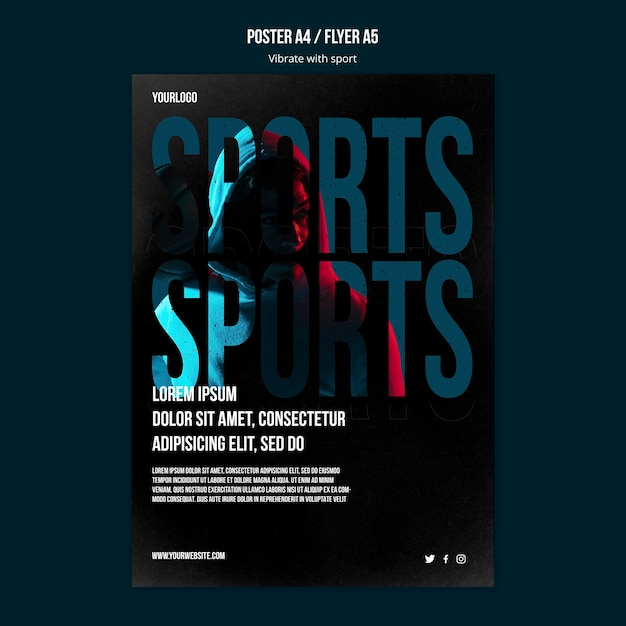 Sport advertentie poster sjabloon Gratis Psd