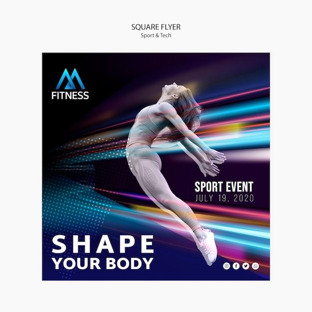 Sport en tech fitness vierkante flyer Gratis Psd