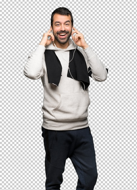 Sport man met een koptelefoon Premium Psd