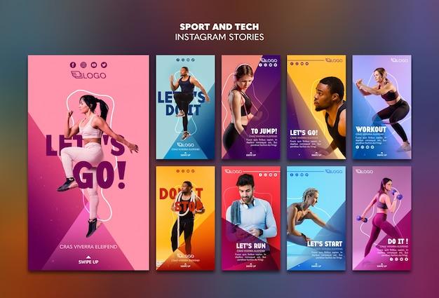 Sport & tech instagram verhalen sjabloon Gratis Psd