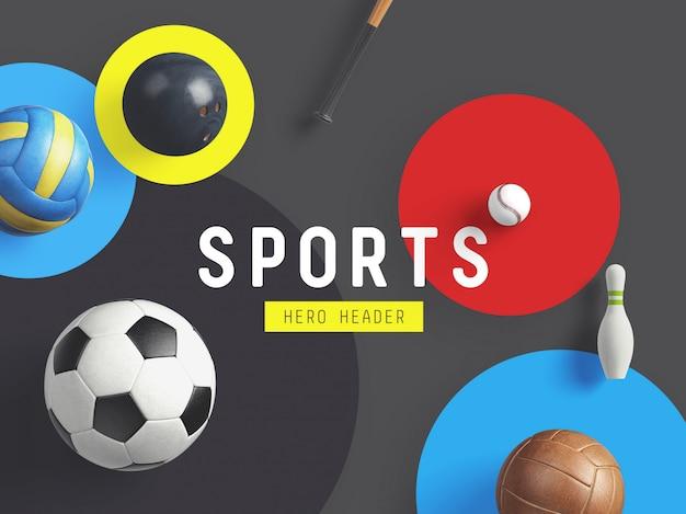 Sportheld / kopbal aangepaste scène Premium Psd