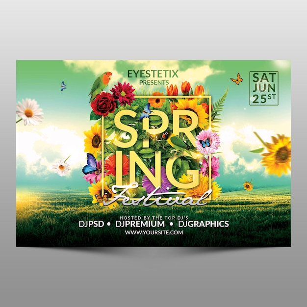 Spring festival flyer Premium Psd