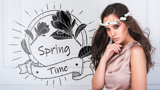 Spring mockup with stylish woman Psd Gratuite